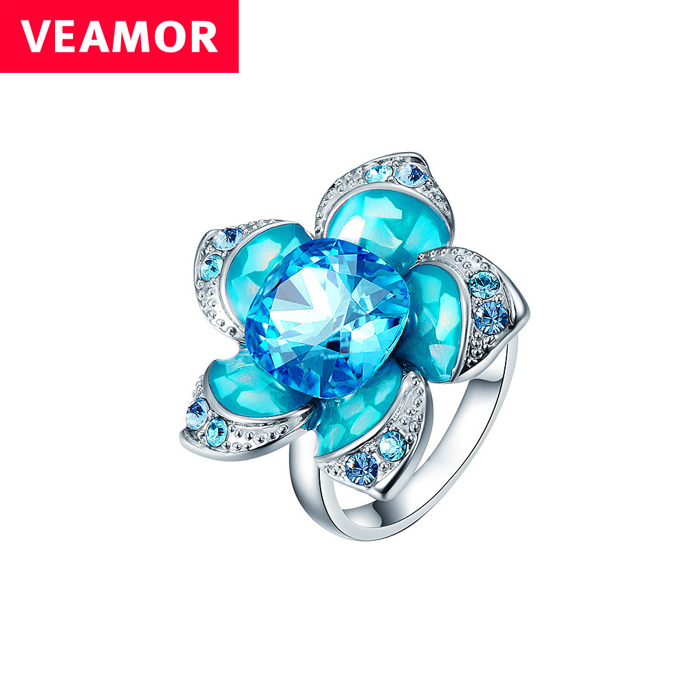 VEAMOR flower ring for women luxury blue crystals from SWAROVSKI big ring female with enamel fashion jewelry size 6 7 8(China (Mainland))