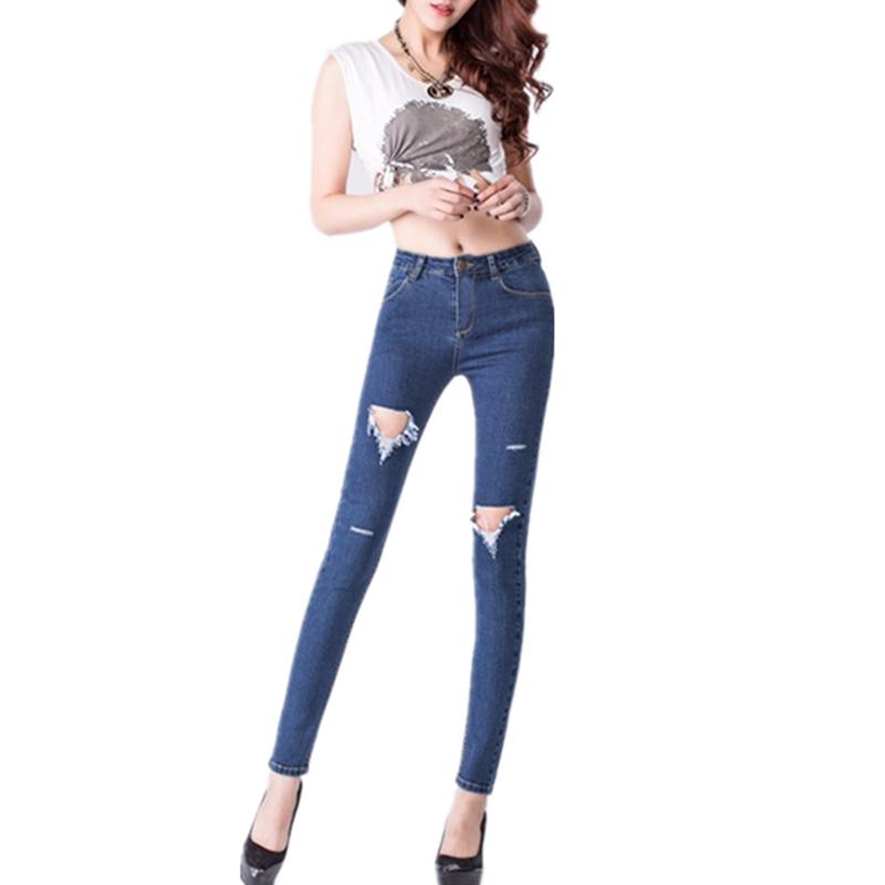 2015 High Waist Jeans Woman Knee Skinny Pencil Pants Slim Denim Ripped Boyfriend Women Black - Alice Eileen's store