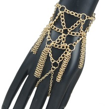 Europe Fashion Exaggerated Punk Bangle Jewelry Luxury Golden Chunky Alloy Multilayer Tassel Finger Hand Harness Chain Bracelets(China (Mainland))