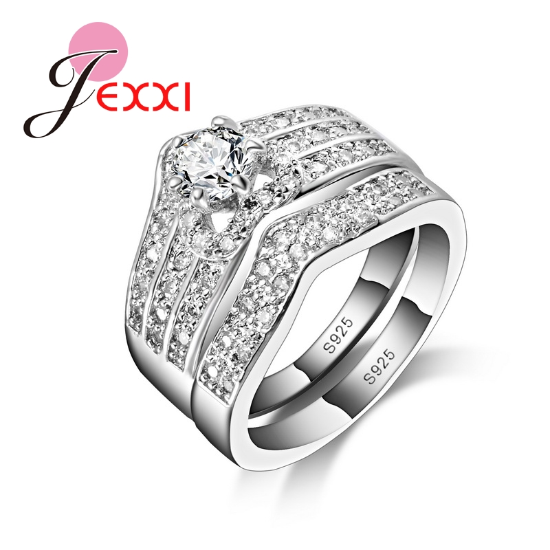 JEXXI Special Fashion Design CZ Diamond 925 Sterling Silver Ring Set Wedding