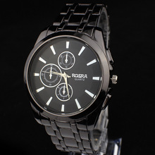 2015 nuevos relojes de acero moda negro acero de tungsteno hombres de negocios de los reloj dial grande personalizado cuarzo mira el envío gratis