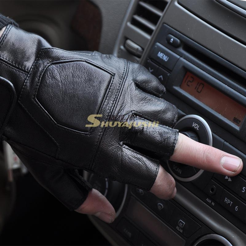 Lucy refers to male driving gloves leather gloves sports sheepskin half glove fitness semi-finger photography genuine leather