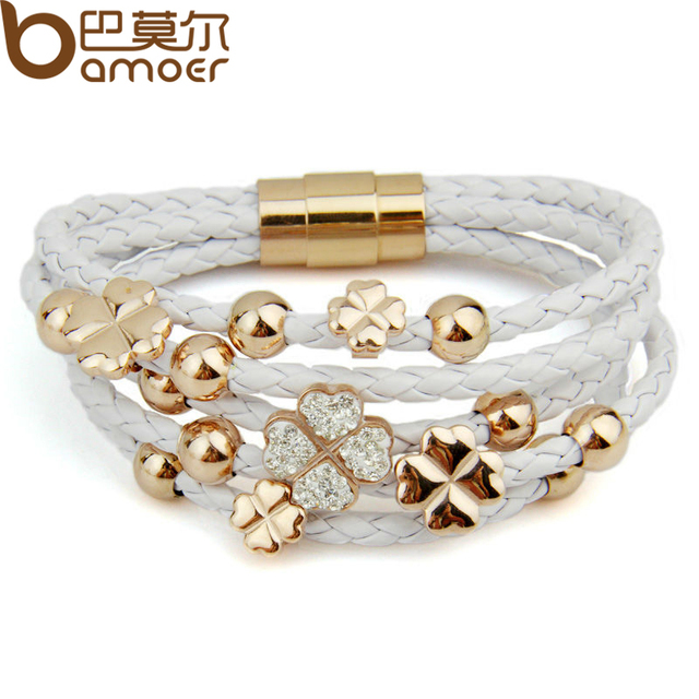 Alibaba express Hot Sell Leather  Rose Gold Plated Bracelet for Women Four Leaf Clover Crystal Charm Jewelry PI0697