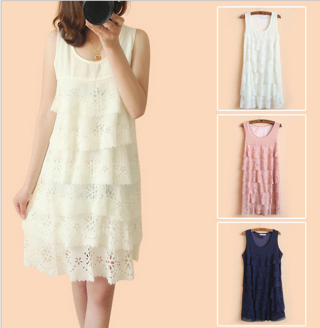 Free shipping 2013 foreign trade of the original single ladies chiffon dress 105 sweet wind hollow Print Tank Dress
