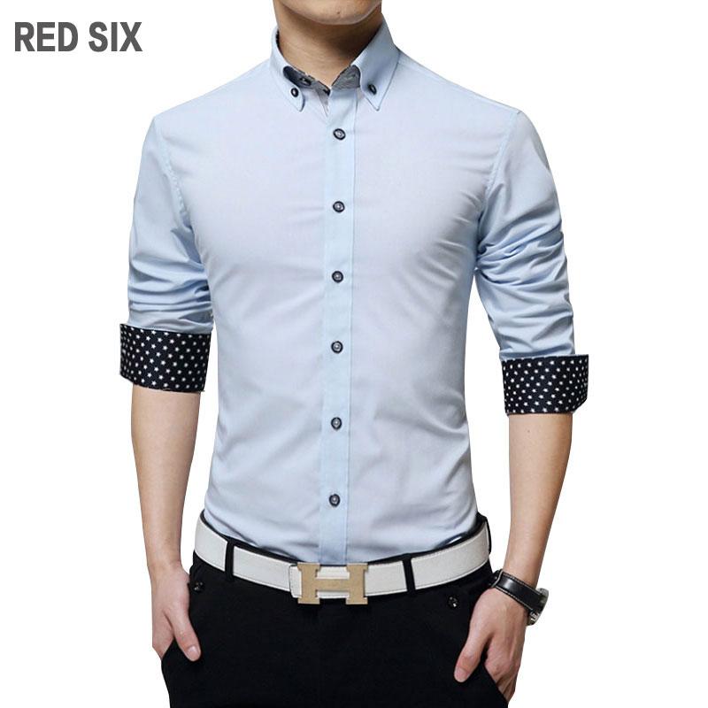 Casual slim mens dress shirts Spring autumn long sleeve shirt men Different color placket decorate men shirt Plus size 5XL L02(China (Mainland))