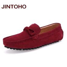 JINTOHO Büyük Boy Erkek Bot Ayakkabı Yüksek Kaliteli Inek Süet Erkek rahat ayakkabılar Loafer'lar Üzerinde Kayma Rahat Erkek Ayakkabı Moda Erkek daireler(China)