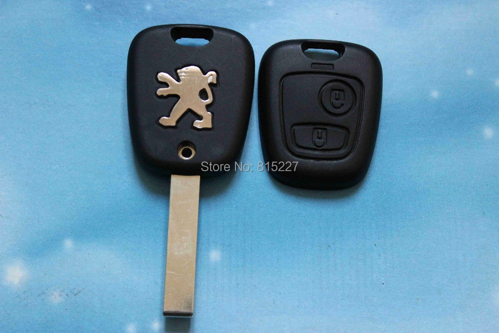 In Stock 2 Buttons Uncut Blade Remote Car Key Shell Case for Peugeot 307 207 407 607 C2 Free Shipping(China (Mainland))