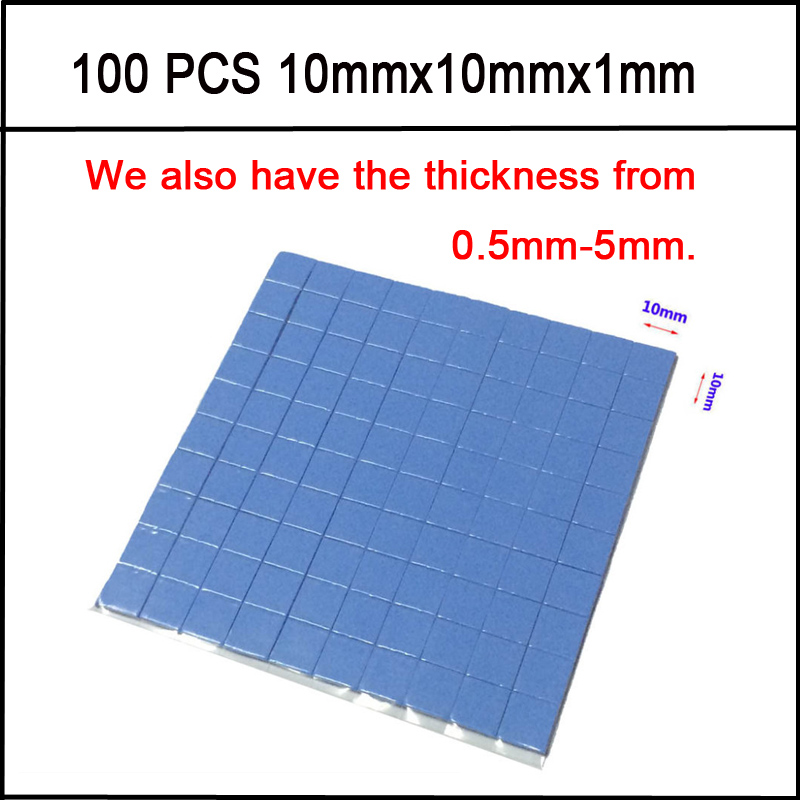10mm*10mm*1mm 100 pcs Thermal Pad GPU CPU Heatsink Cooling Conductive Silicone Pad high quality(China (Mainland))