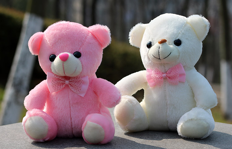 Free shipping 25cm Luminous teddy bear Christmas Toys,Led Light Tie the bear toys, Lovely butterfly knot Birthday Gift kids toys(China (Mainland))