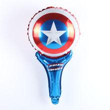 10pcs Handheld Superhero Hulk Avengers Alliance Capitão América Escudo Balões Folha Festa De Aniversário Ballon Decoração Criança Brinquedos(China)