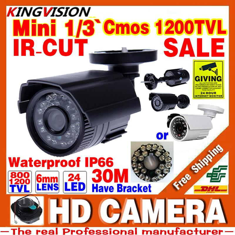 Real HD 1/3cmos 1200TVL small Outdoor IP66 Waterproof CCTV Security Colour Analog Mini Camera 24led IR infrared Night Vision 30m(China (Mainland))