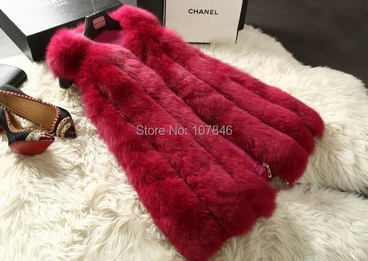 2016 Lady Fashion Genuine Nature Whole-hide Fox Fur Vest Waistcoat  Winter Women Fur Gilet Outerwear Coats VK1473