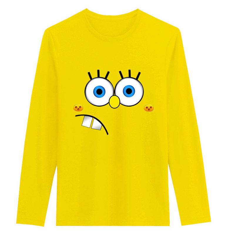 Spongebob Long Sleeve T Shirt Women Cotton O Neck Euro Size Kawaii Tops(China (Mainland))