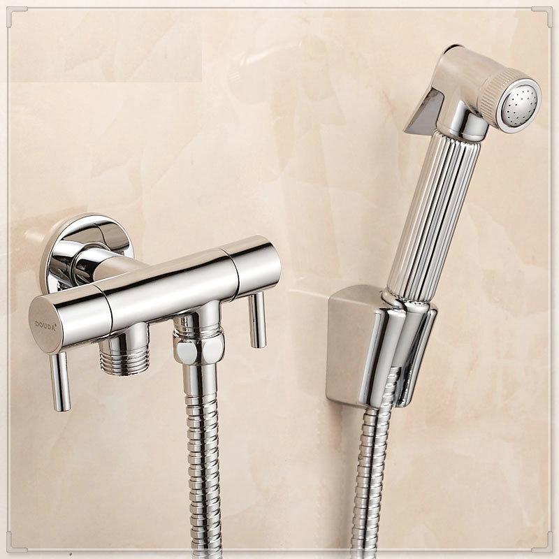 Sanitary ware copper bidet faucets toilet dual usage spray gun set bathroom light tap(China (Mainland))