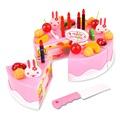 37Pcs Set Plastic Kitchen Cutting Toys Birthday Cake Pretend Play Food Toy Set for Baby Kids