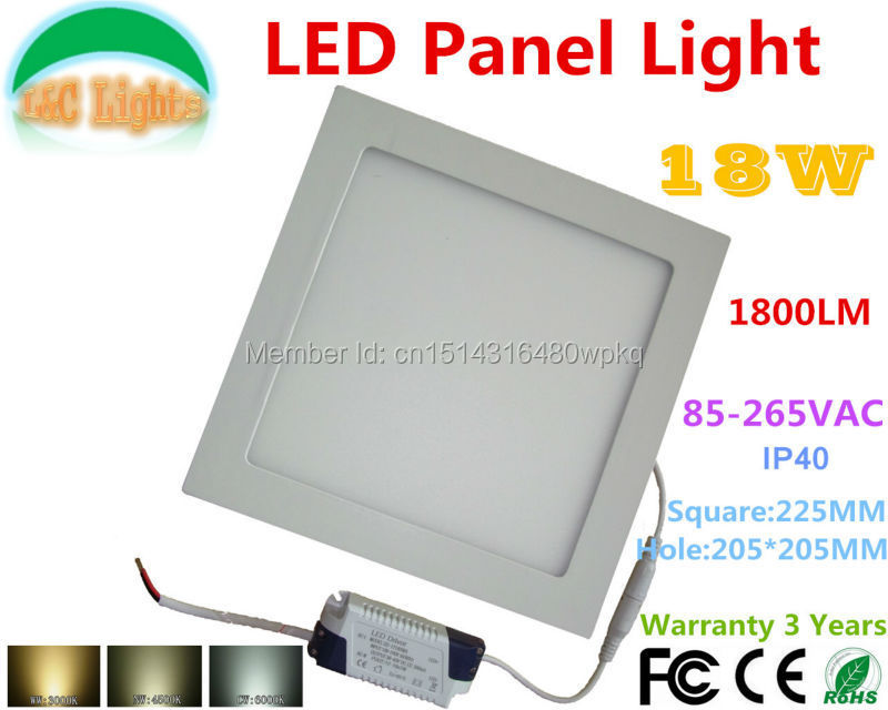 Square 18W 1800LM LED Panel Light,85-265VAC,Commercial,Indoor Lighting,LED Lamps,Warranty 3 Years,LED Downlight,10PCs a lot(China (Mainland))