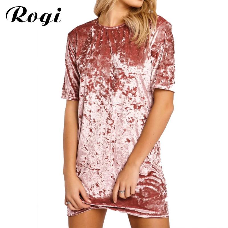 Rogi Summer Velvet T-Shirt Vestidos 2017 Women Short Sleeve Long Tee Shirt Top Fashion T Shirt Robe Femme Blusas Camisetas Mujer(China (Mainland))