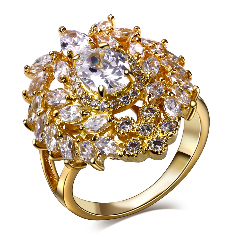 2016 african rings 18 gold color jewelry ring big clear zircon rings sparkly jewelry Luxury Ring ladies accessories jewelries(China (Mainland))