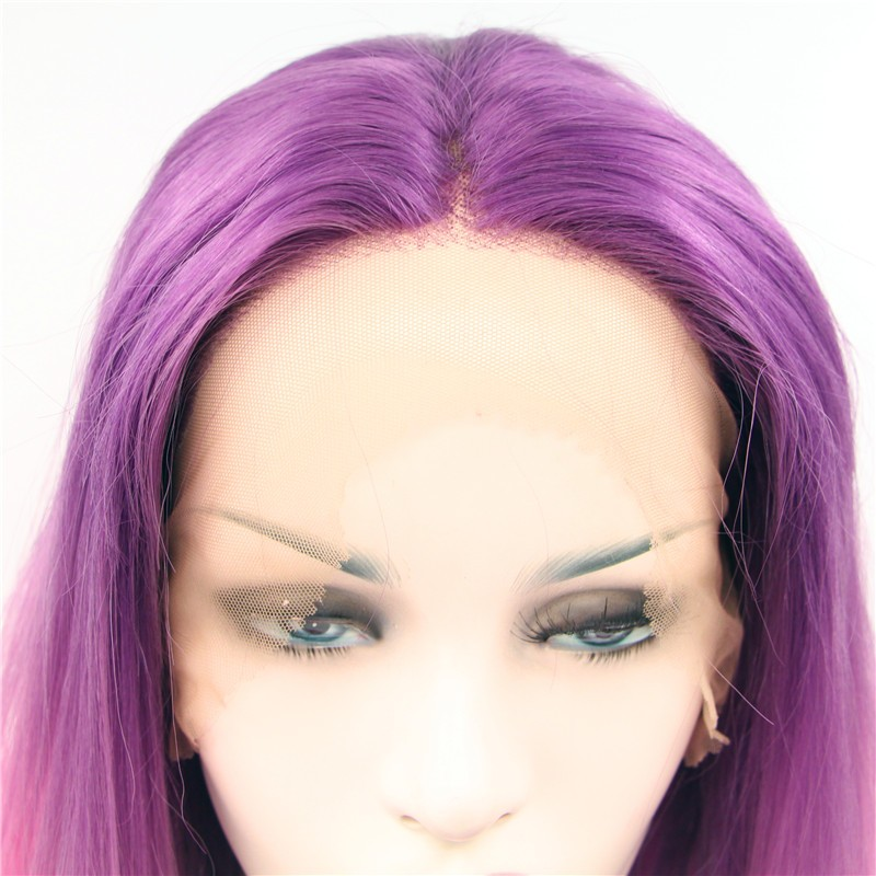 Fashion purple red ombre hair wigs straight weave synthetic lace front wig heat resistant fiber hair for women drag queen hair