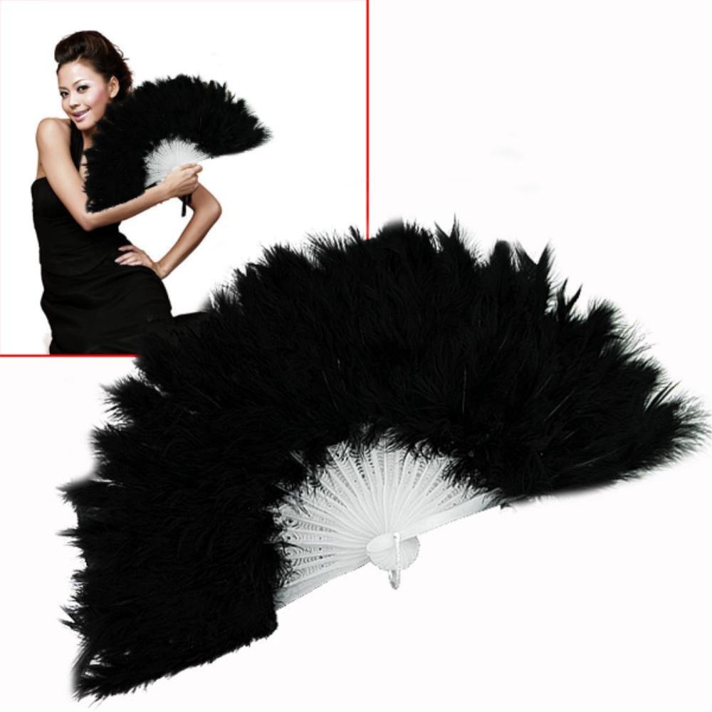fluffy soft feather costume hand held folding fan black EN0770(China (Mainland))