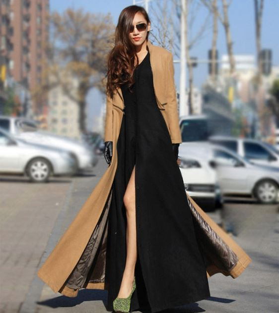 women's super fancy autumn winter fashion ultra long outerwear floor length woolen coat wool velvet slim trench overcoat - Shenzhen Simple Way Technology Co., Ltd store