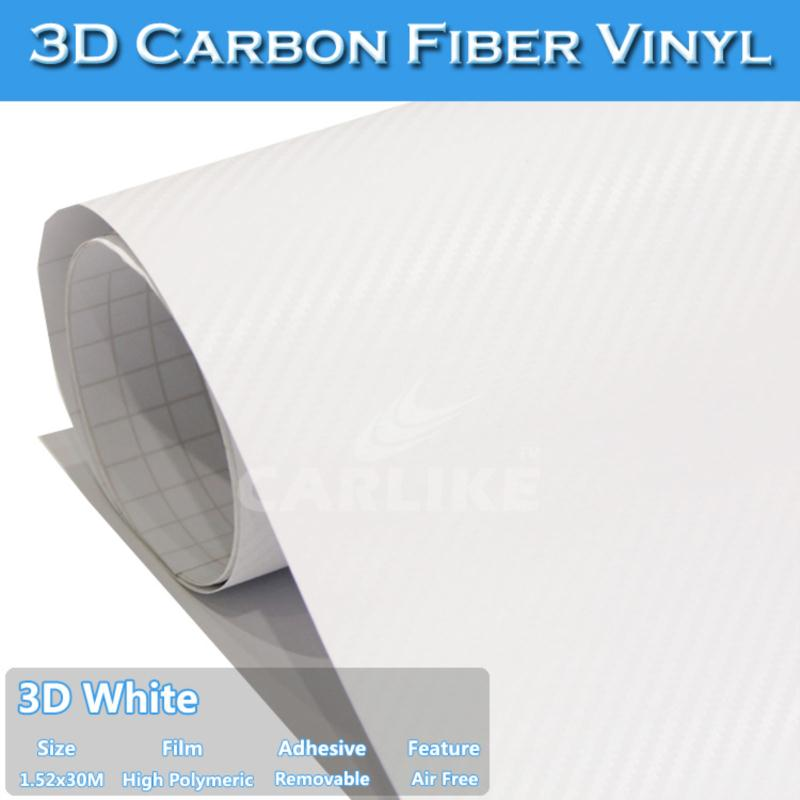 1.52x30M 5FTx98FT SINO Air Bubble Free White 3D Carbon Fiber Roll For Car Body Wrapping(China (Mainland))