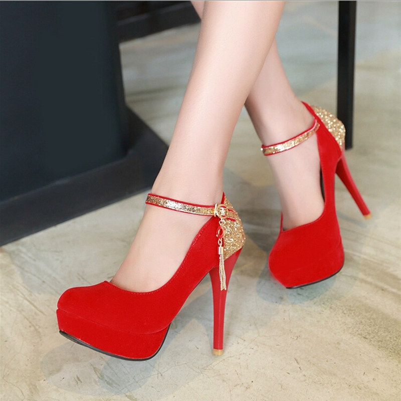 Autumn gold paillette wedding red shoes bridal shoes ultra thin heels high heels platform shoes womens red wedding shoes single<br><br>Aliexpress