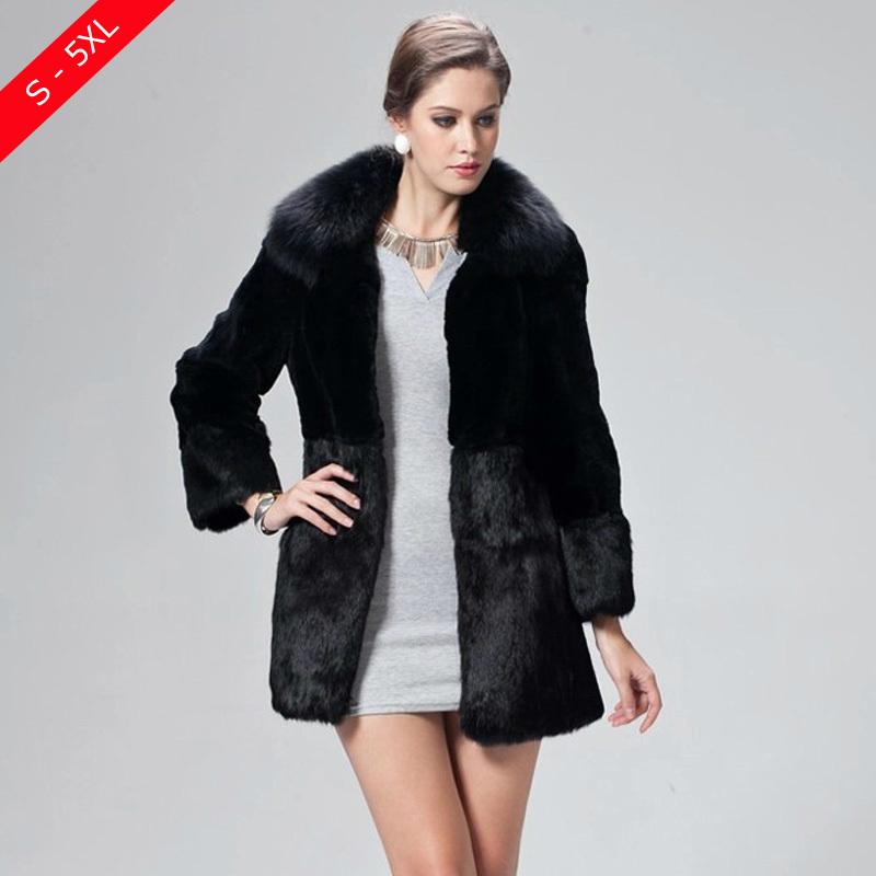 F6008 2015 Women Plus Size S - 5XL Luxury Faux Mink Rabbit Patchwork Fur Coat With Fox Fur Collar Vintage Imitation Fur Coats(China (Mainland))