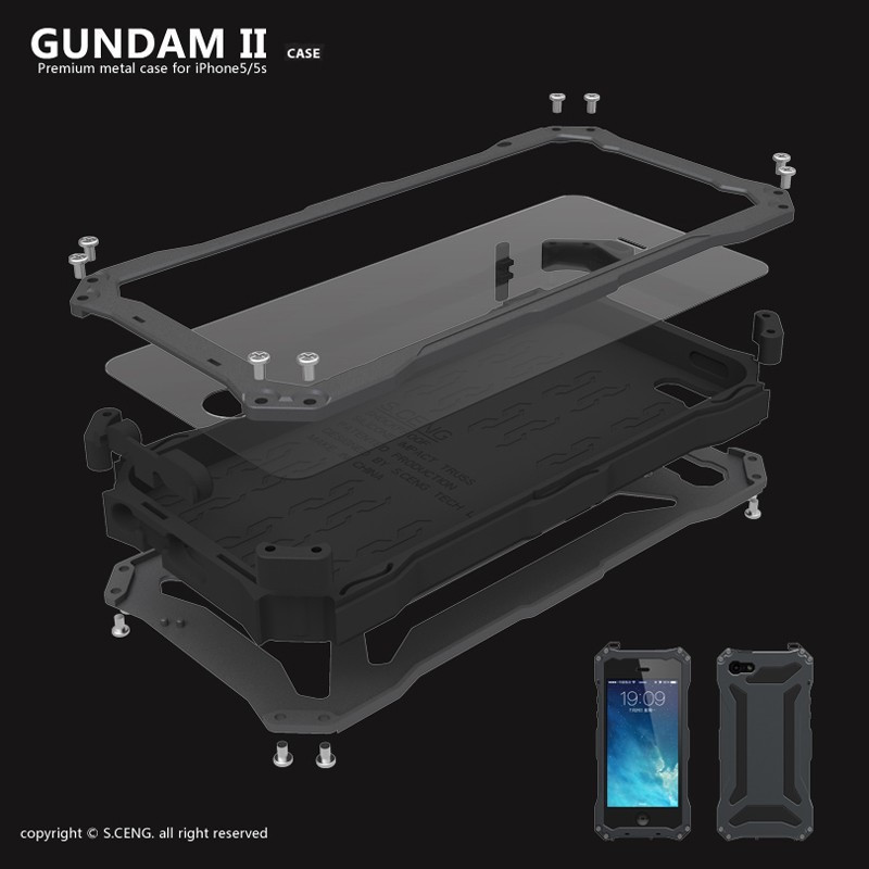 Luxury Gundam Waterproof Shockproof Metal Aluminum Armor Hard Case For iPhone 5 5s SE 6 6s Plus Cover Cases With Tempered Glass(China (Mainland))