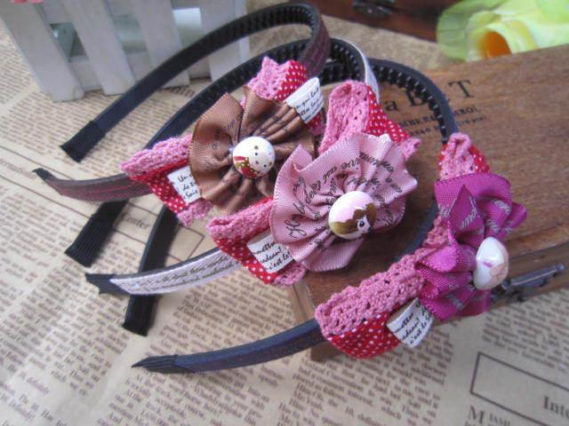 US $2 off per US $12 Freeshipping! NEW Vintage Cloth Bow Flower Plastic HairBand/Headband/Kroean style(China (Mainland))