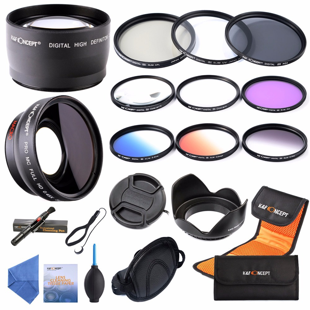 58mm 0.45x Wide Angle & 2.2x Telephoto Lens+58mm UV CPL FLD ND4 Macro Close up+4+10 Filter+Graduated Lens for DSLR Cameras(China (Mainland))