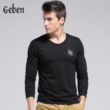 2015 Hot sale Men Slim Fit Cotton Lycra V Neck Long Sleeve Casual T Shir Tops