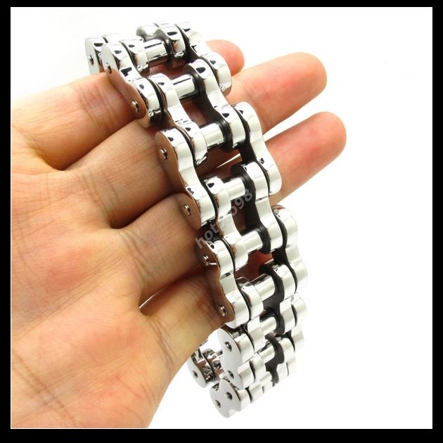 Wholesale Top Quanlity 22mm Huge Heavy Men's Motor Bike Chain Motorcycle Chain Bracelet Bangle 316L Stainless Steel Jewelry(China (Mainland))