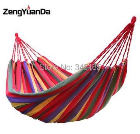 Canvas Single outdoor furniture garden hammock tourism camping hunting Fabric Stripes swing thickening chair - Star Security Technologies CO.,LTD store