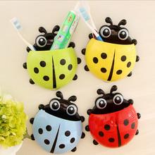 4Colors New Funny Cartoon Toothbrush Holder Ladybug Sucker Suction Hook Bathroom Accessories Set Free Shipping(China (Mainland))