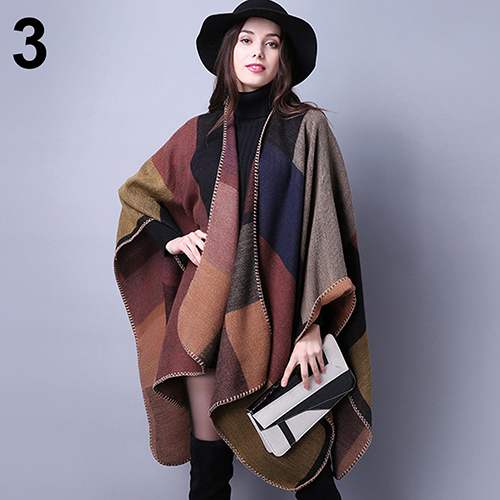 Women Winter Oversized Thicken Warm Lattice Scarf Shawl Pashmina Autumn Cloak