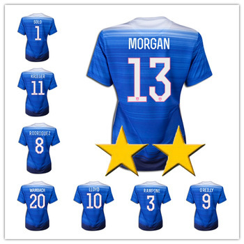 15/16 Womens USA Soccer Jerseys Away Blue LLOYD KRIEGER MORGAN O'HARA O'REILLY WAMBACH USA 2015 World Cup Soccer Shirt S-L(China (Mainland))