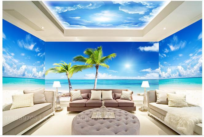 Custom photo wallpaper large 3d sofa tv background for Beach themed mural