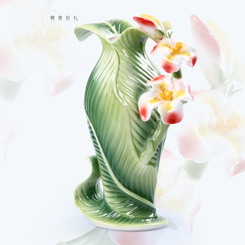 Ceramic canna indica l flowers vase home decor large floor for Floor vase with flowers