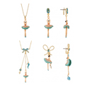 New Ballet Girl Jewelry Sets Top Quality Dancing Girl Bow Necklace Earrings For Women Good Gift