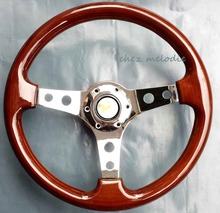 Handmade Universal 14inch 35cm vintage classic wood wooden auto car steering wheel with horn button(China (Mainland))