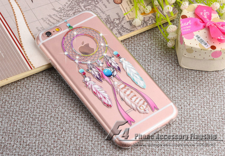 2016 New Luxury Crystal Rhinestone Wind Chime Transparent TPU Case for iPhone 6 4.7 / 6s Plus 5.5 Back Cover Silicon Fundas Capa