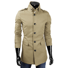 Fashion Spring Autumn Trench Coat Men Solid Color Trench Coat High Quality Outerwear Casual Coat Windbreaker Mens Trench Coat(China (Mainland))