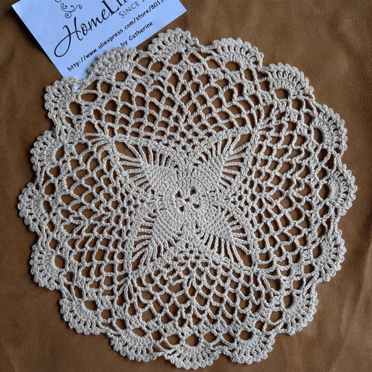 Wedding Decoration 12Pcs/Lot Wholesale Cotton Handmade Crochet Doily Cup Mat Crochet Applique White/Beige Coaster Free Shipping(China (Mainland))