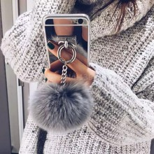 2016 Silver Metal Rope Mirror TPU Tassel case phone Capa fake fur ball For samsung galaxy S6 Edge / S7 / S7edge Back Cover Case(China (Mainland))