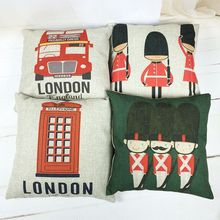Buy 1 Pcs 45cm X 45cm London Pattern Cushion Cover Cotton Linen Pillow Cover Cushion Case Sofa Bed Decorative Pillows for $2.79 in AliExpress store