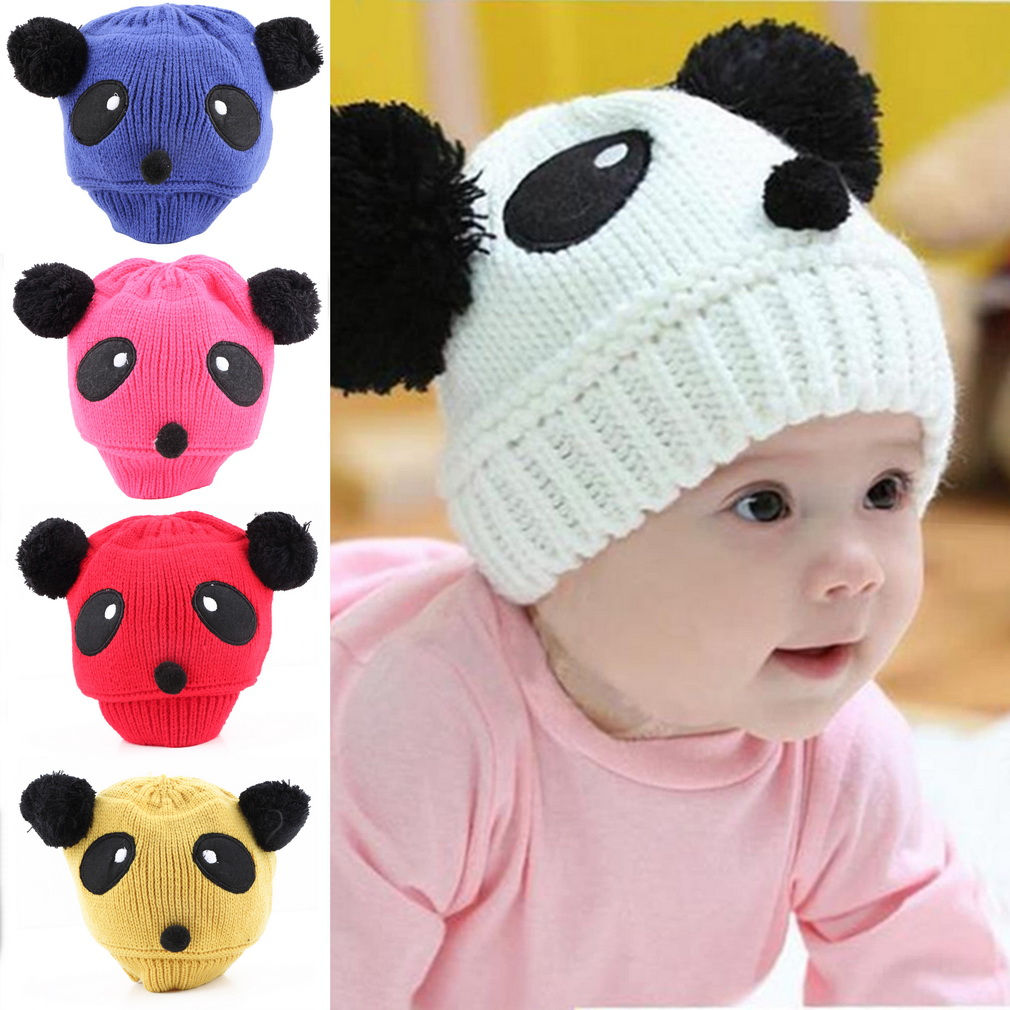 1pcs 2016 New fashion Colorful Lovely Animal Panda Baby Hats Caps Kids Boy Girl Crochet Beanie