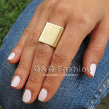 Blogger Fav Celeb Simple Square Geometry Band Finger Ring Gift Punk Steampunk Jewelry Free Shipping