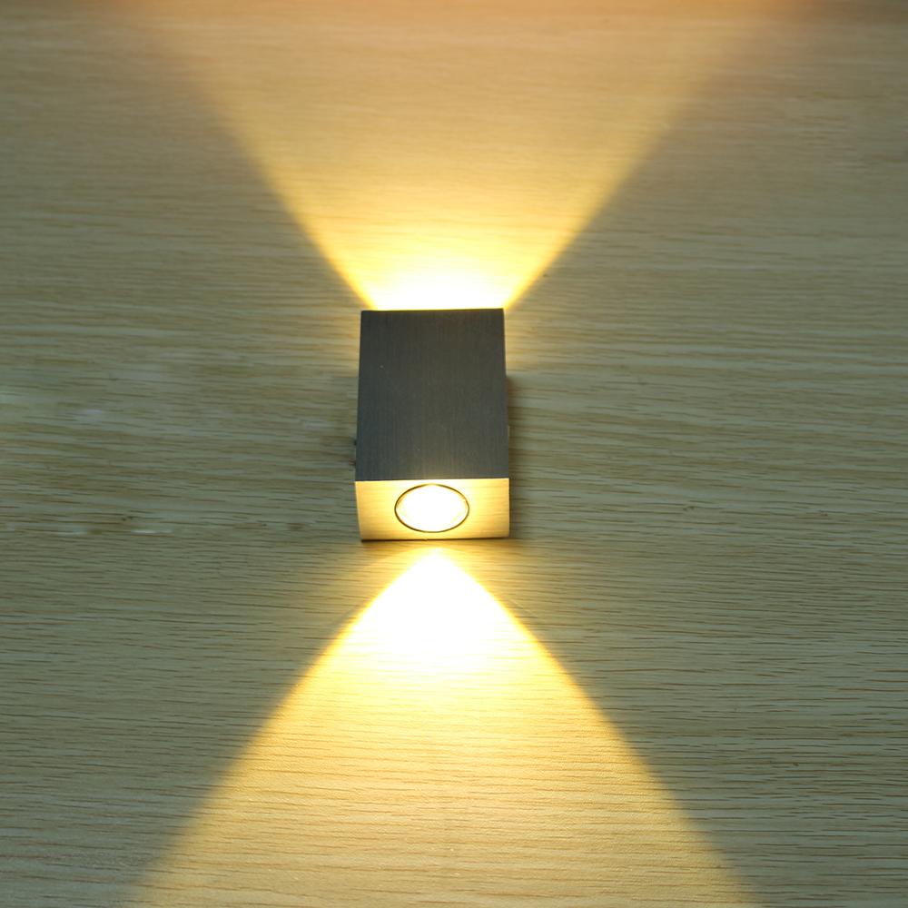 tanbaby 2w led wall lamp square led spot light aluminm modern home. Black Bedroom Furniture Sets. Home Design Ideas