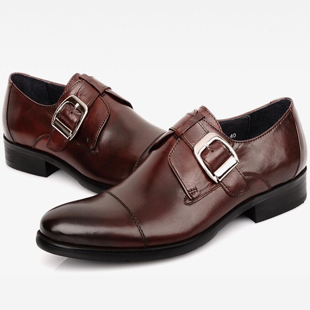 2016 Luxury Black Mens Monk Strap Shoes Elegant Mens Dress Shoes Buckle Boss Suit Shoes Oxford Cap Toe Mens Gents Shoes European(China (Mainland))